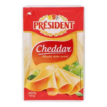 President Cheddar Sliced Cheese 51% 100g