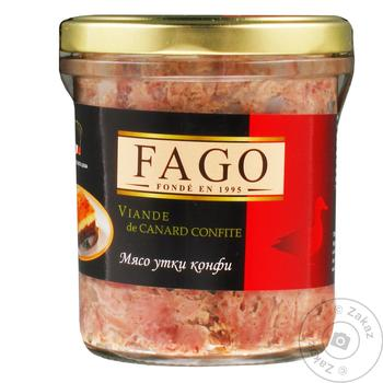 Meat Fago duck canned 330g glass jar - buy, prices for Novus - image 1