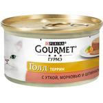 Корм Gourmet Голд Террин с уткой, морковью и шпинатом для котов 85г