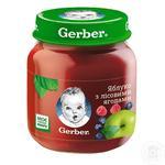Пюре Гербер яблуко з лісовими ягодами без крохмалю і цукру для дітей з 5 місяців 130г