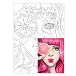Rosa Pink Canvas With Contour 30x40cm