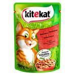 Корм для дорослих котів Kitekat з яловичиною в желе 100г