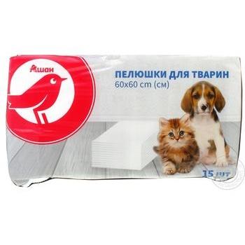 Auchan Diaper for animal 60*60cm 15pcs