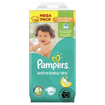 8501543717ba Скидка на Подгузники Pampers Active Baby-Dry 4+ 9–18кг 120шт купить ...