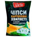 Чипсы Varto волнистые со вкусом сметана с луком 110г
