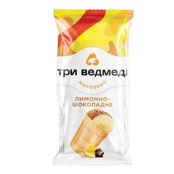 Мороженое Три Медведя Лимонно-Шоколадное двухслойное в вафельном стаканчике 80г - купить, цены на СитиМаркет - фото 1