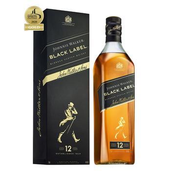 Виски Johnnie Walker Black label 12 років 40% 0.7л - купити, ціни на Ашан - фото 1