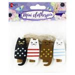 Santi Friendly Cats Set of  Wooden Clothespins 4,5cm 4pcs