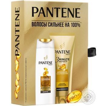 Набор подарочный Pantene Интенсивное восстановление Шампунь 250мл, бальзам 200мл - купить, цены на Ашан - фото 2
