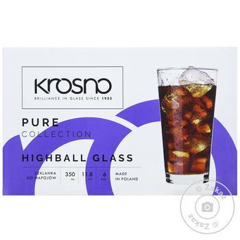 Набор стаканов Krosno Pure 6шт 350мл