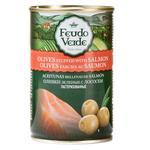Оливки зеленые Feudo Verde с лососем 300г