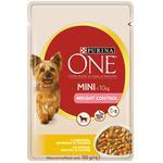 Корм Purina ONE MINI Здоровый Вес С индейкой, морковью и горохом для контроля веса собак мелких пород 100г