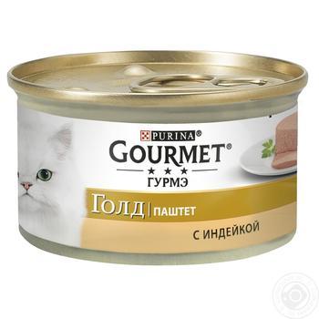 Корм GOURMET Gold Паштет С индейкой для взрослых кошек 85г - купить, цены на Метро - фото 1