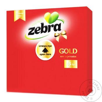 Салфетки красные Zebra gold двухслойные 45шт - купить, цены на Таврия В - фото 1