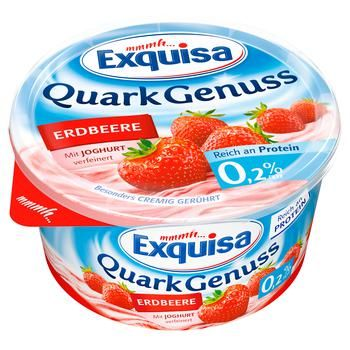 Exquisa Curd Dessert with Strawberries 0.2% 500g