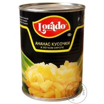 Ананасы Lorado кусочками в легком сиропе 580мл - купить, цены на Novus - фото 1