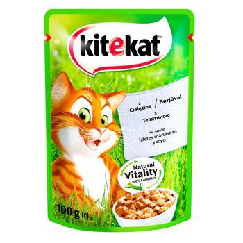 Корм Kitekat для дорослих котів з телятиною в соусі 100г - купити, ціни на Метро - фото 2