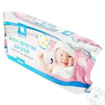 Салфетки влажные Eurogroup детские с ромашкой 60шт - купить, цены на Таврия В - фото 1