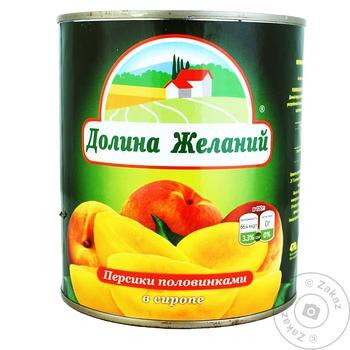 Персики Долина Желаний половинками в сиропе 850мл - купить, цены на Ашан - фото 2