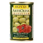 Оливки зеленые Arte Oliva с красным перцем 300г