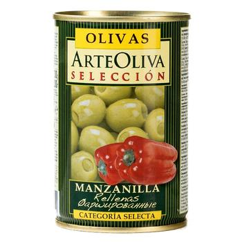 Arte Oliva With red Pepper Whole Green Olives 300g