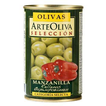 Оливки зелені Arte Oliva з червоним перцем 300г