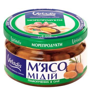 Мідії Veladis в олії підкопчені 200г - купити, ціни на CітіМаркет - фото 1