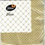 Салфетки Silken Decor целлюлозные трехслойные с печатью Золотая рамка 20шт