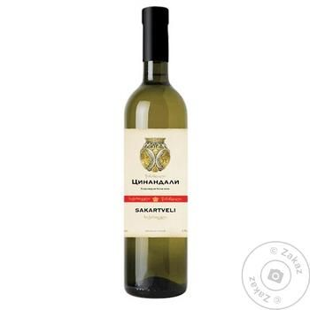 Вино белое Sakartveli цинандали сухое 9.5-13% 0.75л