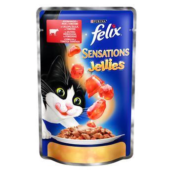 Корм Felix Sensations Jellies С говядиной в желе с томатами для взрослых котов 100г