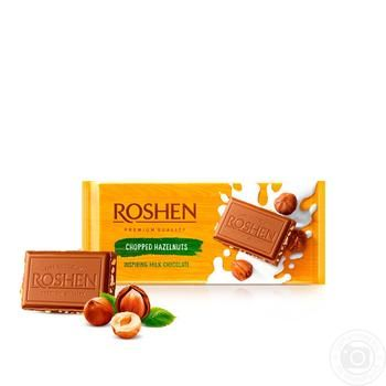 Roshen Classic Chopped Hazelnuts Milk Chocolate 90g - buy, prices for Novus - image 1