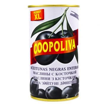 Маслины Coopoliva черные с косточкой 350г