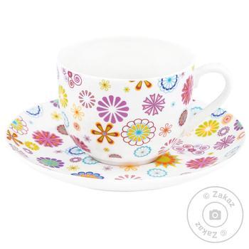 Чашка з блюдцем Krauff Блюмен 21 244 014 230мл 15,2см - купить, цены на Novus - фото 1