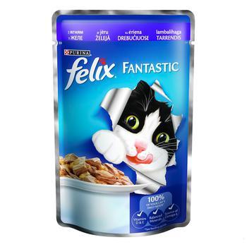 Корм Felix Fantastic С ягненком в желе для взрослых котов 100г - купить, цены на Ашан - фото 1
