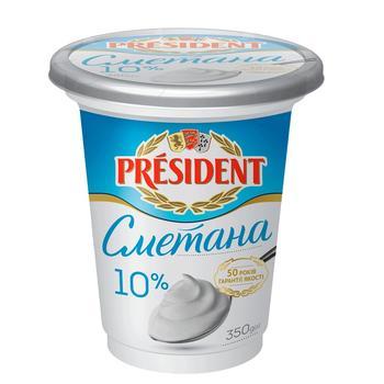 Сметана President 10% 350г - купить, цены на Ашан - фото 1