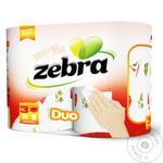 Полотенца бумажные Zebra duo трехслойные 2шт