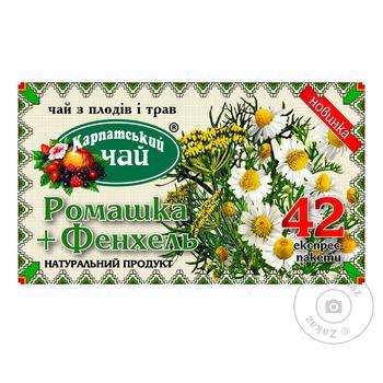 Чай Карпатський чай Ромашка+Фенхель 42 пакета - купити, ціни на Метро - фото 1