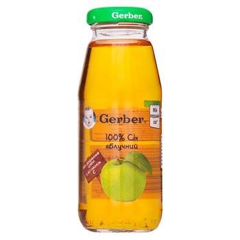 Сок Гербер яблочный детский восстановленный пастеризованный без сахара с витамином С с 3 месяцев 175мл - купить, цены на Ашан - фото 1