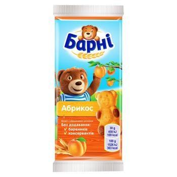 Бисквит Барни абрикосовый 30г - купить, цены на Ашан - фото 1