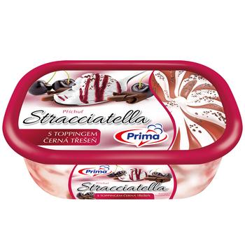 Мороженое Prima Страчателла с топингом из черной вишни 490г