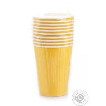 Стакан Унипак бумажный одноразовый желтый 250мл 10шт - купить, цены на Ашан - фото 2