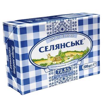Масло Селянське сладкосливочное 72,5% 200г - купить, цены на Метро - фото 1