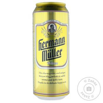 Пиво Hermann Muller Weizen светлое нефильтрованное 5,2% 0,5л