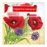 Auchan Napkins Flowers Paper Three-Layer 33х33cm 20pcs