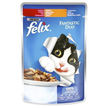 Felix Fantastic Duo with beef and poultry in jelly cat food 100g - buy, prices for EKO Market - photo 1