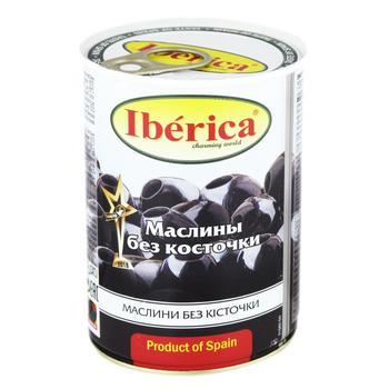 Маслины Iberica крупные черные без косточки 420г