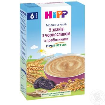 Каша детская ХиПП 5 злаков с черносливом и пробиотиками молочная с 6 месяцев 250г - купить, цены на Ашан - фото 3
