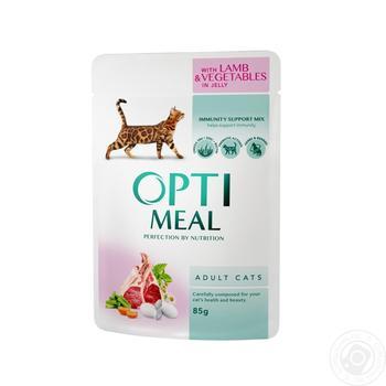 Скидка на Корм Optimeal для взрослых кошек с ягненком и овощами в желе 85г