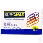 Скрепки BuroMax 28мм цветные, 100шт