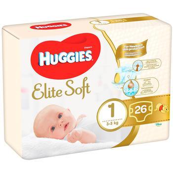 Подгузники Huggies Elite Soft 1 3-5кг 25шт - купить, цены на СитиМаркет - фото 1
